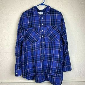 Old Navy Boyfriend Button Up Shirt XL Plaid Top